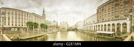 Panorama of Little Lake Alster with City Hall and the Alster Arcades, Hamburg, Hamburg, Germany - Stock Photo