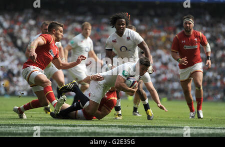 England's Ben Youngs goes over to score his side's third try during the Old Mutual Wealth Cup match at Twickenham - Stock Photo