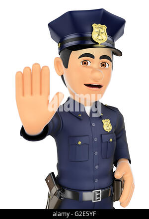 3d security forces people illustration. Policeman ordered to stop with hand. Isolated white background. - Stock Photo