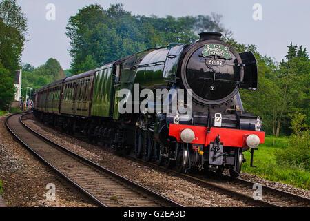 Salisbury, UK. 28th May, 2016. The world famous  Steam Locomotive Flying Scotsman on her UK tour visits Hampshire - Stock Photo