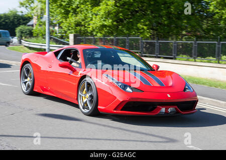 Ferrari 458 Speciale AB S-A Pendle, Lancashire, UK. 29th May, 2016. The rumble of finely tuned V8's resonates through - Stock Photo