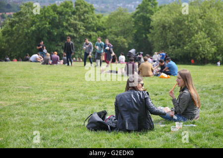 North London, UK 29 May 2016. People enjoying and relaxing a sunny bank holiday weekend in Alexandra Palace, North - Stock Photo