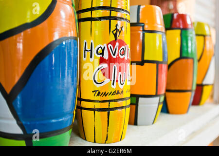 Horizontal view of a shop selling brightly coloured ceramic vases in Trinidad, Cuba. - Stock Photo