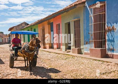 Horizontal street view in Trinidad, Cuba. - Stock Photo
