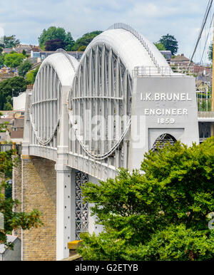 The Royal Albert Bridge (railway bridge) designed by Isambard Kingdom Brunel spans the River Tamar between Devon - Stock Photo