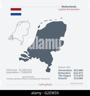 Kingdom of the Netherlands isolated maps and official flag icon. vector Dutch political map icons with general information. - Stock Photo
