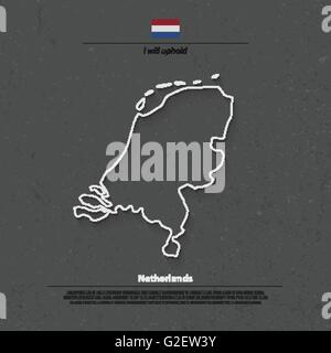 Kingdom of the Netherlands isolated map and official flag icons. vector Dutch political map thin line icon. EU geographic - Stock Photo