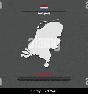 Kingdom of the Netherlands isolated map and official flag icons. vector Dutch political map 3d illustration. EU - Stock Photo