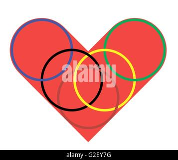 Heart with rings on the white background, vector - Stock Photo