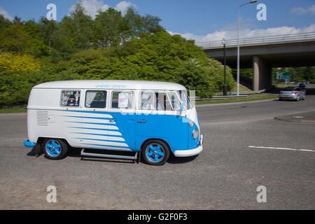 Blue white VW Volkswagen Campervan, VW camper van, classic air-cooled VW T2 Split-Screen Campers  at Pendle Power - Stock Photo