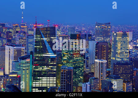 General city skyline evening view of Tokyo, Japan - Stock Photo