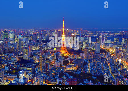 General city skyline night view with the Tokyo Tower of Tokyo, Japan - Stock Photo