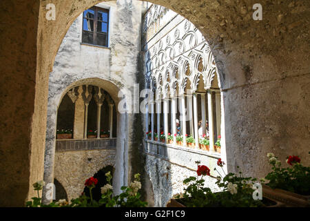 The cloisters at Villa Rufolo Ravello Amalfi Coast Italy Europe - Stock Photo