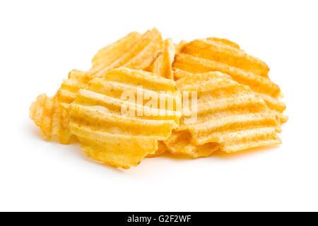 Crinkle cut potato chips isolated on white background. - Stock Photo