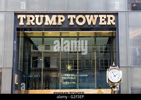 Exterior of Trump Tower, New York City, New York, USA - Close Up of Entrance to Trump Tower with Gold Lettering - Stock Photo