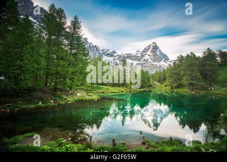 Cervino/ Matterhorn peak in Breuil-Cervinia, Valtournenche, Aosta Valley, Alps, Italy - Stock Photo