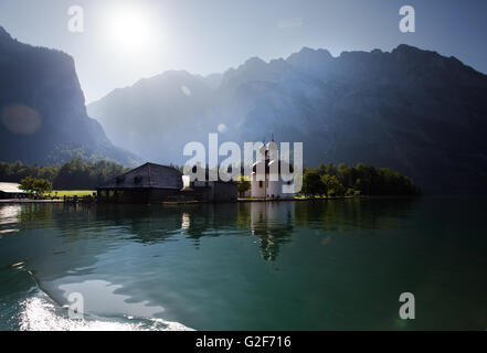 The Koenigssee near Berchtesgaden Bavaria with the Church of St. Bartholomae on a sunny day in summer