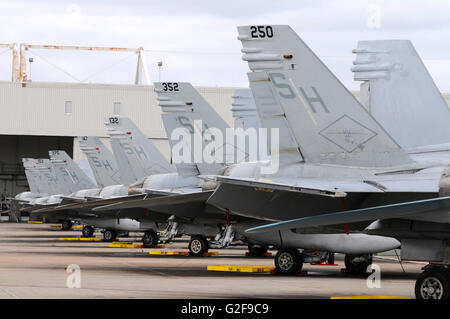Row of U.S. Marine Corps F/A-18 Hornet tail fins from VMFAT-101, on the ramp at Marine Corps Air Station Miramar, - Stock Photo