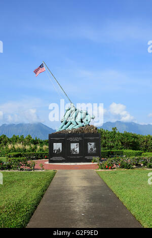 The Pacific War Memorial, located in Oahu on Marine Corps Base Hawaii. The Koolau Mountains can be seen in background. - Stock Photo