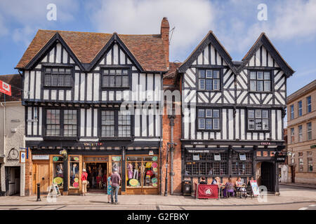 Shops in half-timbered buildings in Bridge Street, Stratford-upon-Avon, Warwickshire, England, UK - Stock Photo