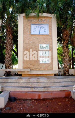 Art Deco clock on Ocean Drive in South Beach, Miami, Florida USA - Stock Photo