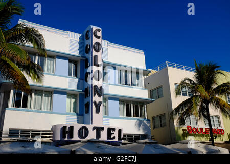 The Colony Hotel on Ocean Drive, Miami Beach - Stock Photo