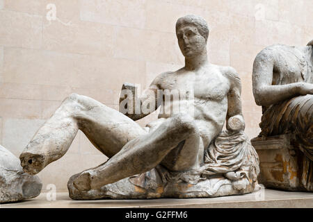 Marble statue from the East pediment of the Parthenon. The statue has been identified as Dionysos, the god of wine, - Stock Photo
