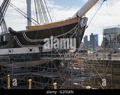 USS Constitution undergoing repairs Charlestown Navy Yard  Boston, Massachusetts, USA - Stock Photo
