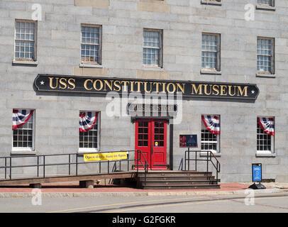 USS Constitution Museum building, Charlestown Navy Yard, Boston, Massachusetts, USA - Stock Photo