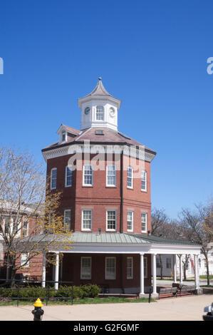 The Muster House, octagonal building, Charlestown Navy Yard, Boston, Massachusetts, USA - Stock Photo