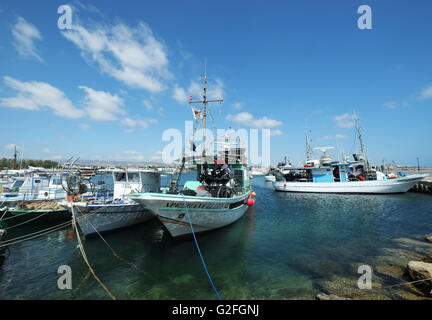 26/05/2016,  Fishing boats, tied up in Paphos harbour, southern Cyprus, - Stock Photo