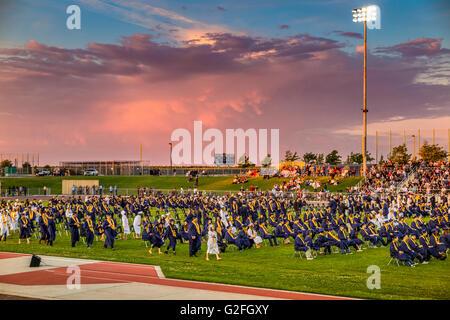 High School Graduation ceremonies at Joseph A. Gregori High School in Salida California - Stock Photo