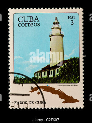 Postage stamp from Cuba depicting North Rock Lighthouse in Cuba. - Stock Photo