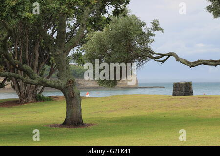The park near a beach is empty as it threatens to rain - Stock Photo