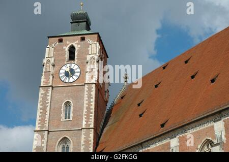 Ingolstadt, Germany - August 24, 2014: Cathedral tower in Ingolstadt in Germany. - Stock Photo