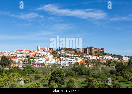 Castle and town, Silves, Algarve, Portugal - Stock Photo