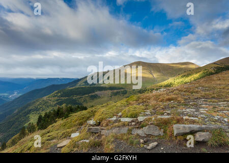 Autumn morning in Spanish Pyrenees mountains near Torla. - Stock Photo