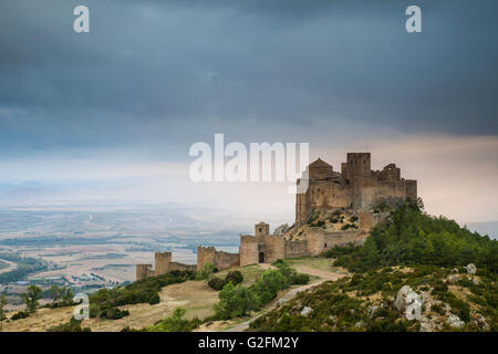 Sunset at Loarre Castle, Huesca, Spain. Pre-Pyrenees of Aragón. - Stock Photo