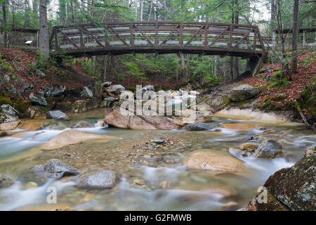 """The Pemigewasset River, just below the """"The Basin' viewing area, in Franconia Notch State Park of Lincoln, New Hampshire - Stock Photo"""