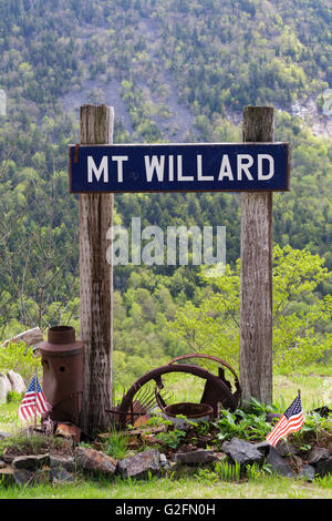The site of the Mt. Willard Section House along the old Maine Central Railroad in Crawford Notch New Hampshire - Stock Photo