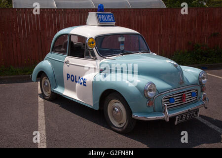 Vintage 1969 blue & white British Leyland Morris Minor 1000 Police traffic ZCar type. 60s Z-Cars or Z Cars was a - Stock Photo