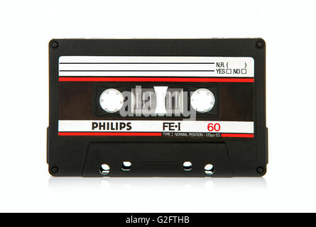 Close up of Philips FEI 60 vintage compact cassette audio tape - Stock Photo