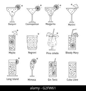 Set of outline various kinds of cocktails. Vector illustration. Isolated on white background. - Stock Photo