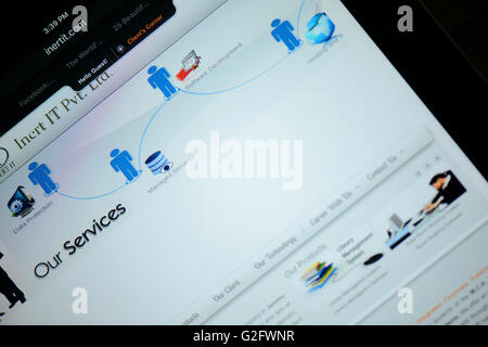 Internet explorer Browser showing  home page logo displayed on a Ipad screen - Stock Photo