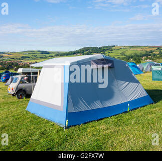Hooks House Farm campsite overlooking picturesque Robin Hood`s Bay, North Yorkshire, England. UK - Stock Photo