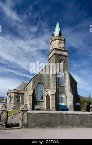 ardrishaig parish church,1860,gothic,tower fronted nave,octagonal castellated tower and spire 1868,church of scotland - Stock Photo