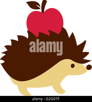 Hedgehog with apple on his back - Stock Photo