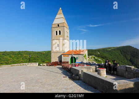 Lubenice town on the Hill, island Cres - Stock Photo