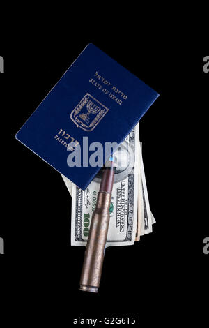 Israelian passport with dollar banknotes and a rifle bullet isolated on black background - Stock Photo
