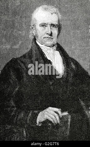 John Marshall (1755-1835). 4th Chief Justice of the United States. Portrait. Engraving in Universal History, 1835. - Stock Photo